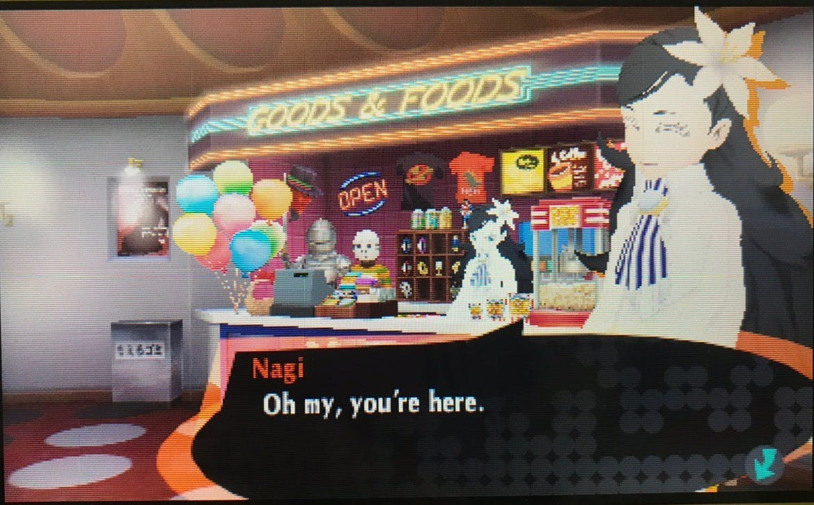 Nagi from Persona Q2 has a glaring white outfit