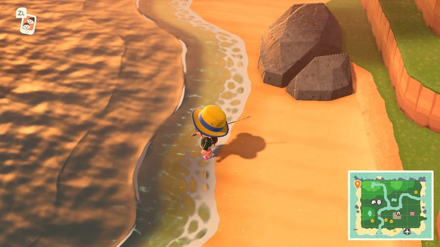 Animal Crossing: New Horizons beautiful waves by the beach