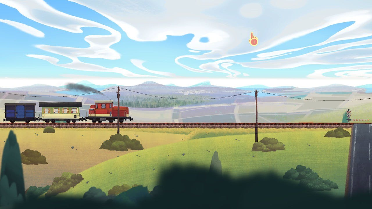 Old Man's Journey piecing the train tracks as a puzzle