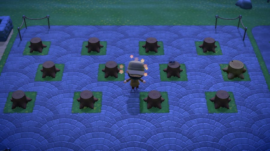 Animal Crossing New Horizons tree stump field