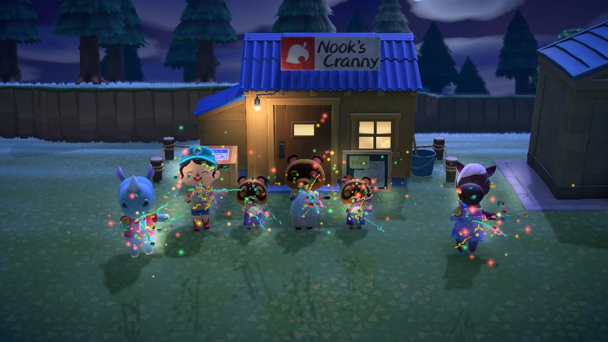 Throwing a celebration for the opening of Nook's Cranny? How adorable, they are popping party poppers...