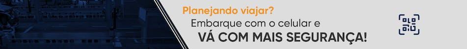 """Banner no site com o texto """"Planejando viajar? Embarque com o celular e vá com mais segurança!"""""""