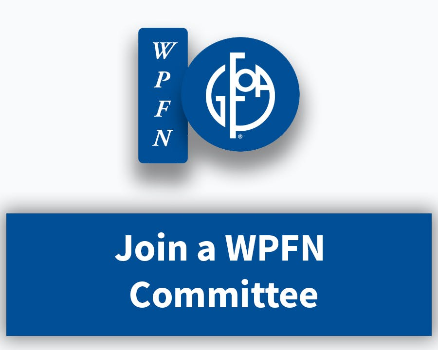 "WPFN Logo and Words ""Join a WPFN Committee"""