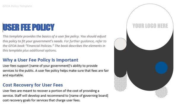 User Fee Policy Template