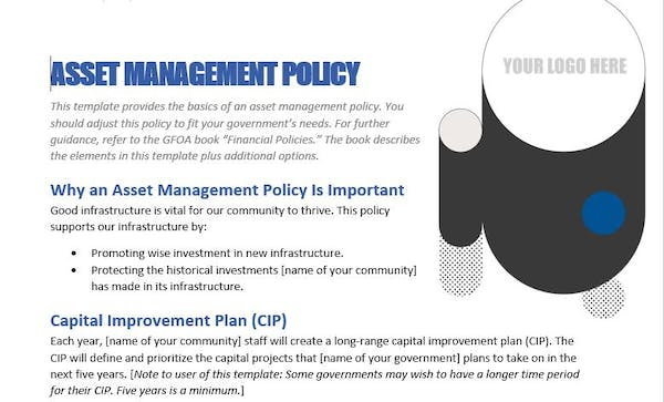 Asset Management/Capital Planning Policy Template