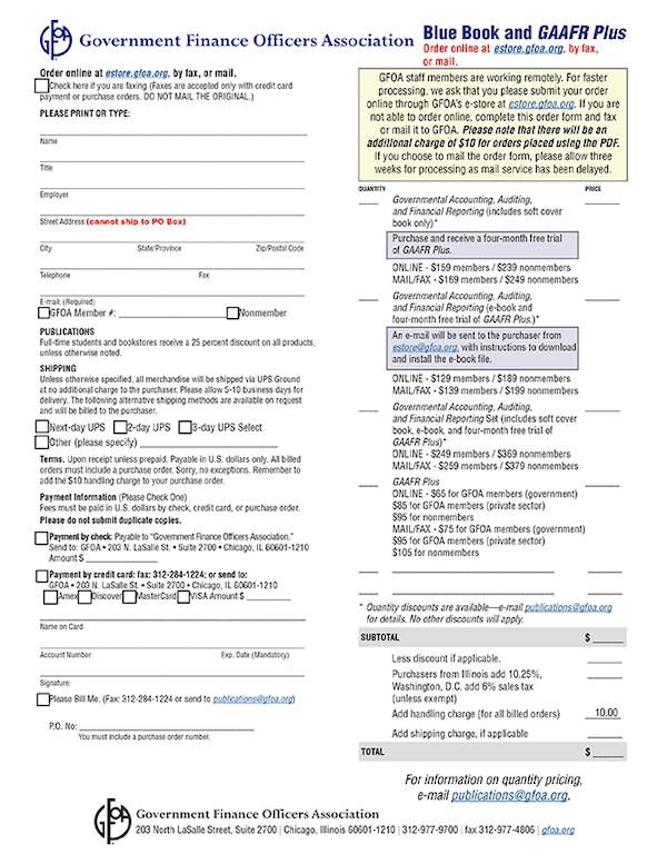 GAAFR Order Form