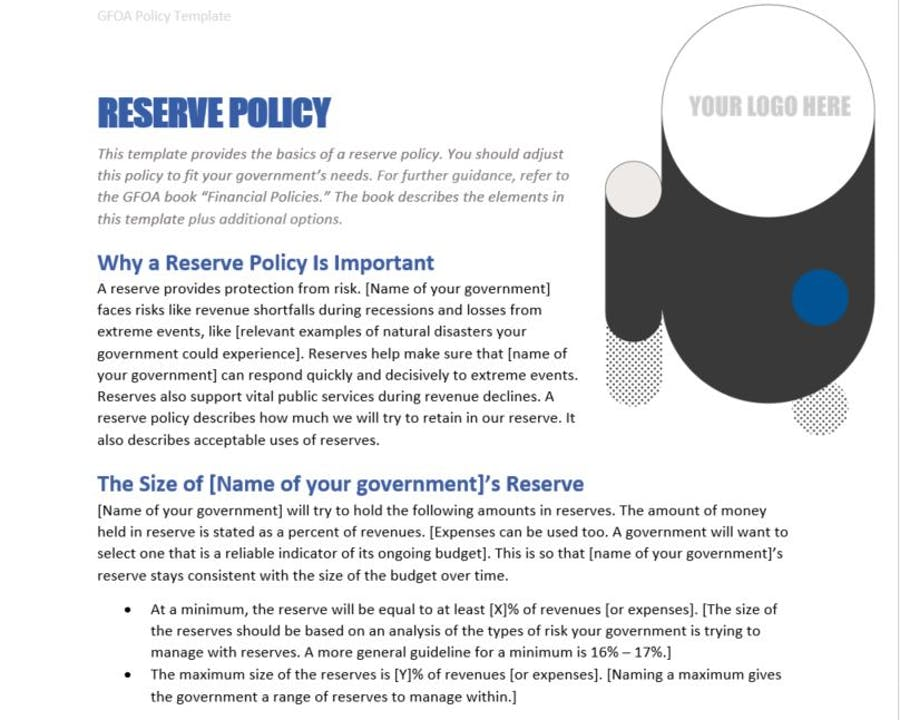 Reserve Policy Template