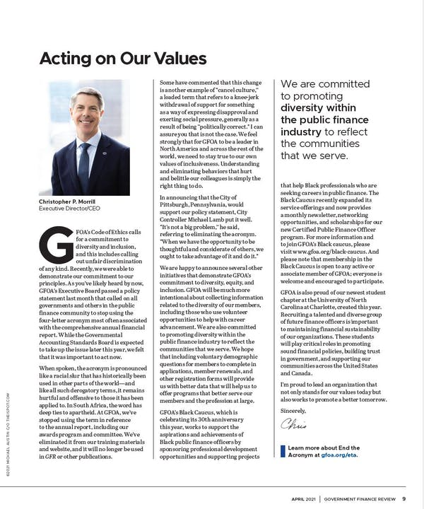 Page from April 2021 issue of GFR