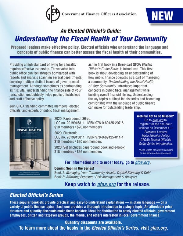 Elected Official's Guide: Understanding Fiscal Health Order Form
