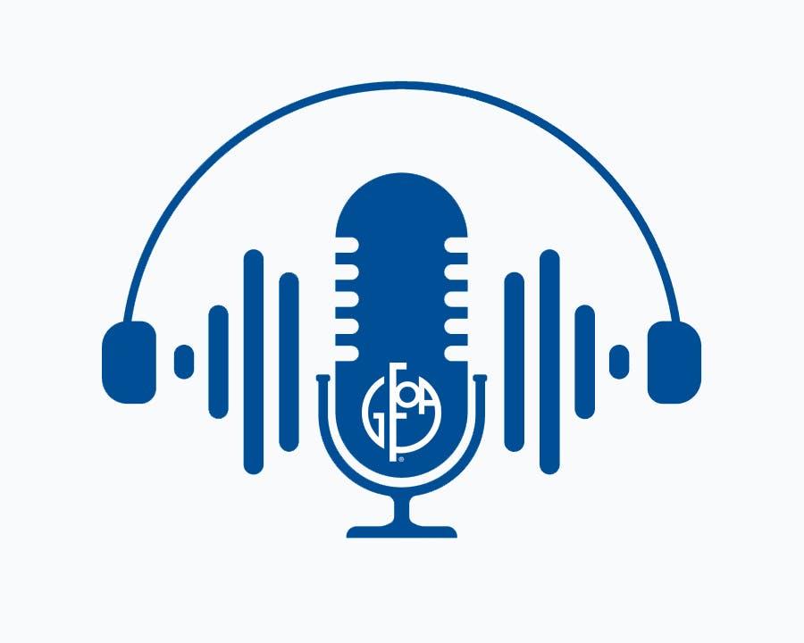 Image of Microphone and GFOA Logo.