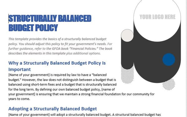 Structurally Balanced Budget Policy Template
