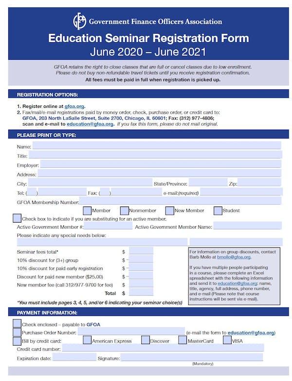 Education Seminar Registration Form