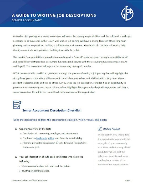 A Guide to Writing Job Descriptions - Senior Accountant