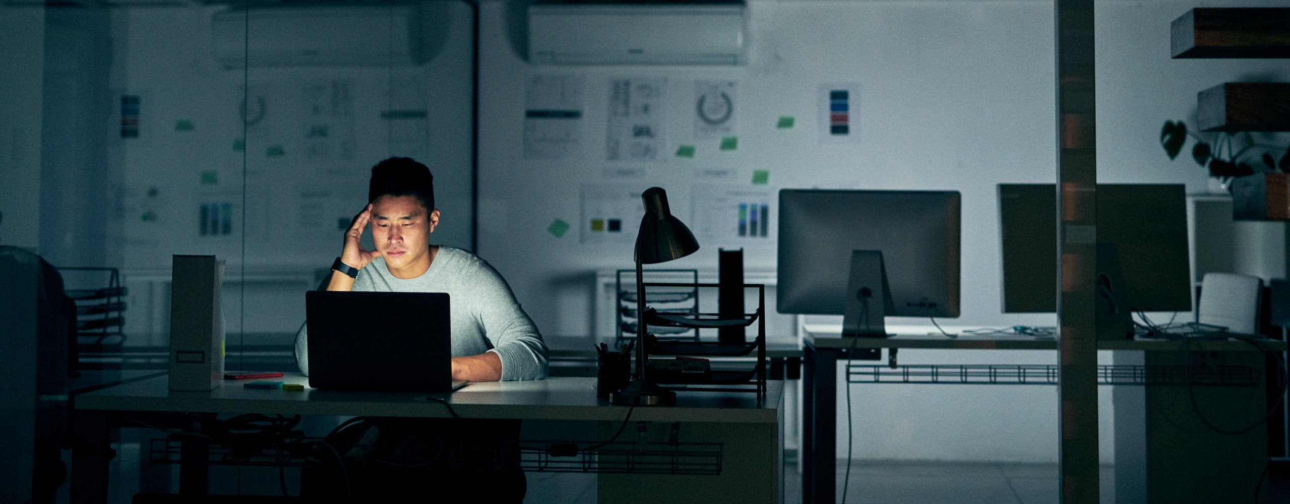 Image of working late.