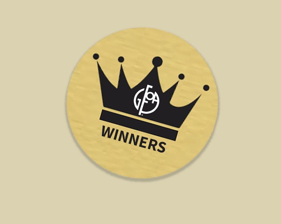 "Photo of crown with GFOA logo and word ""Winners."""