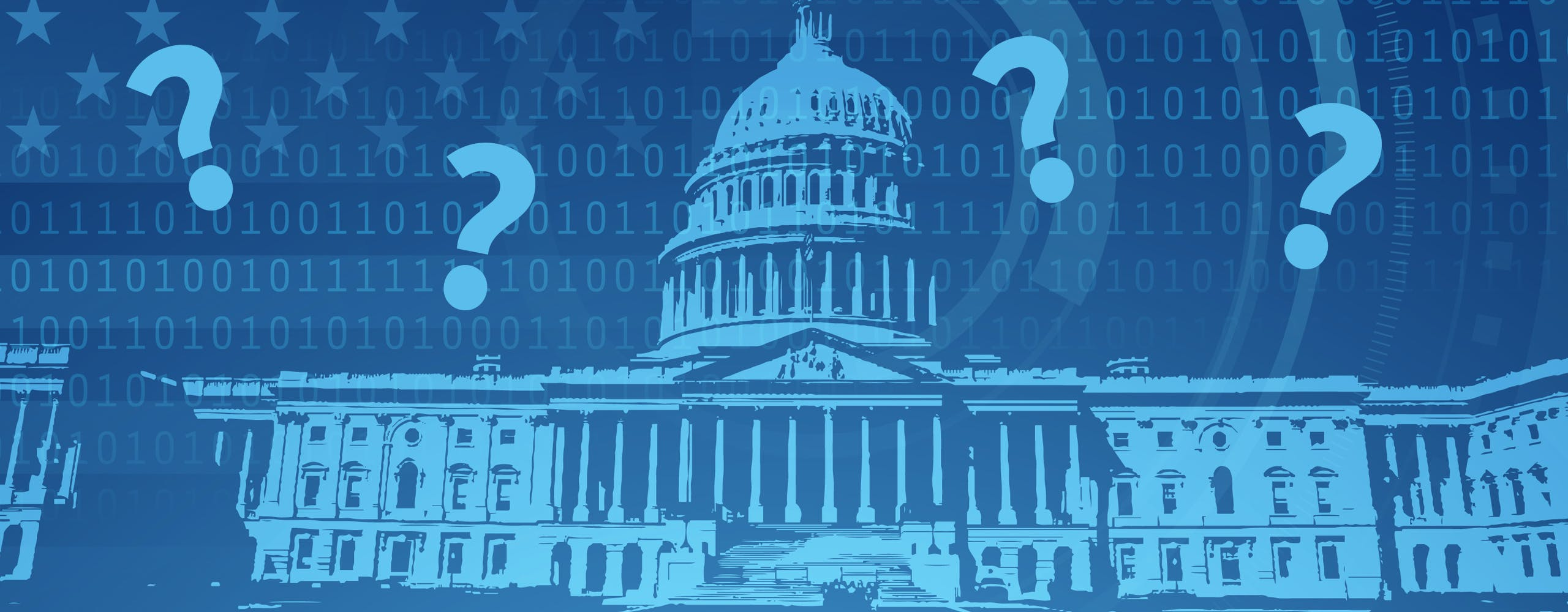 Photo of Capitol Building with question marks.