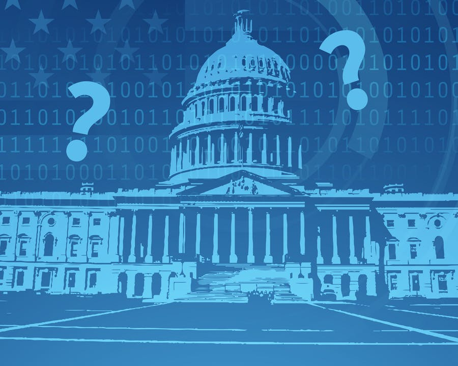 Graphic of Washington D.C. with Question Marks.