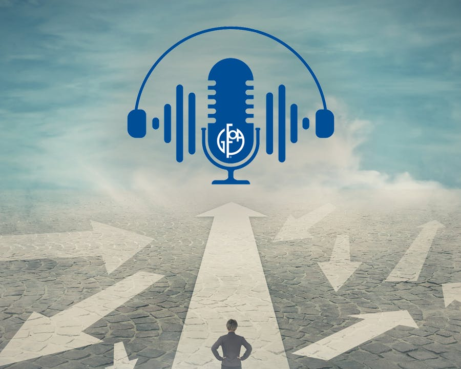 Photo of person standing in road with arrows pointing in different directions and GFOA podcast logo at top.