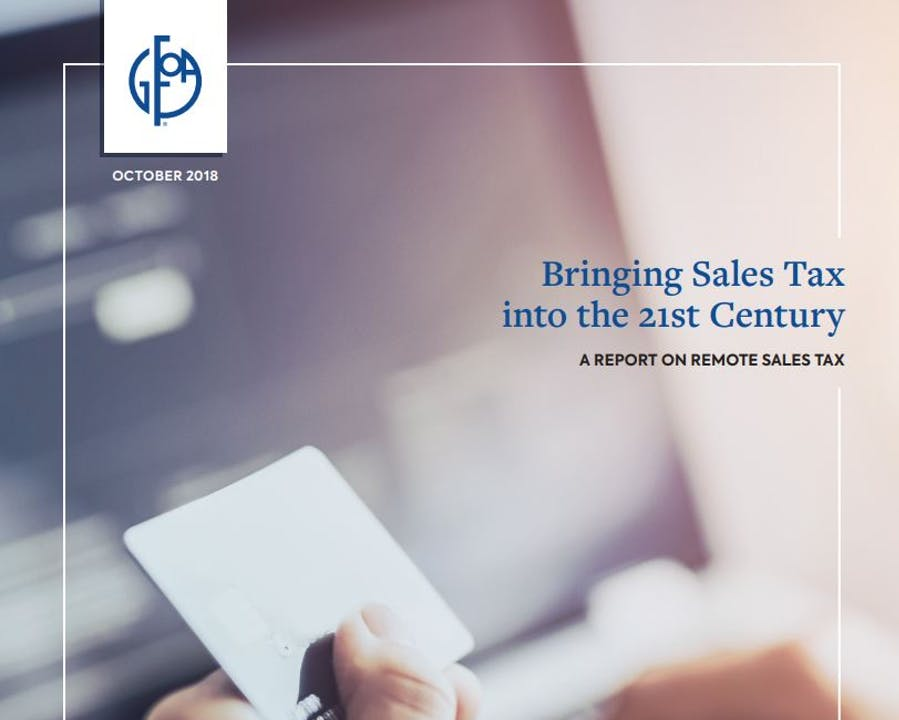 "Cover of GFOA Report ""Bringing Sales Tax into the 21st Century"""
