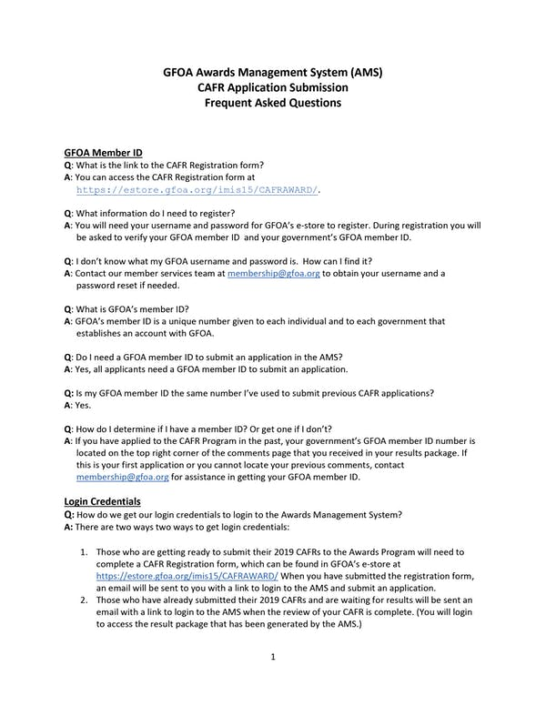 CAFR Application Submission - FAQ