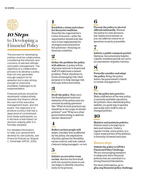 10 Steps to Developing a Financial Policy