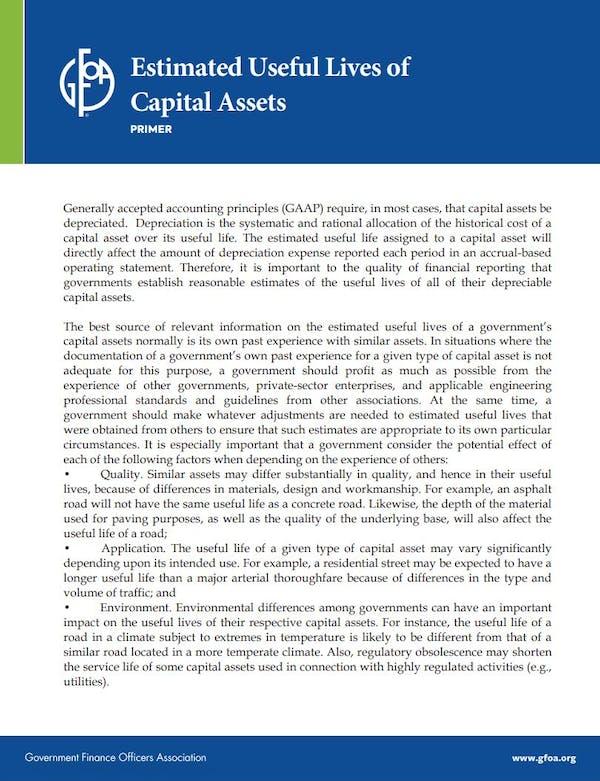 Estimated Useful Lives of Capital Assets