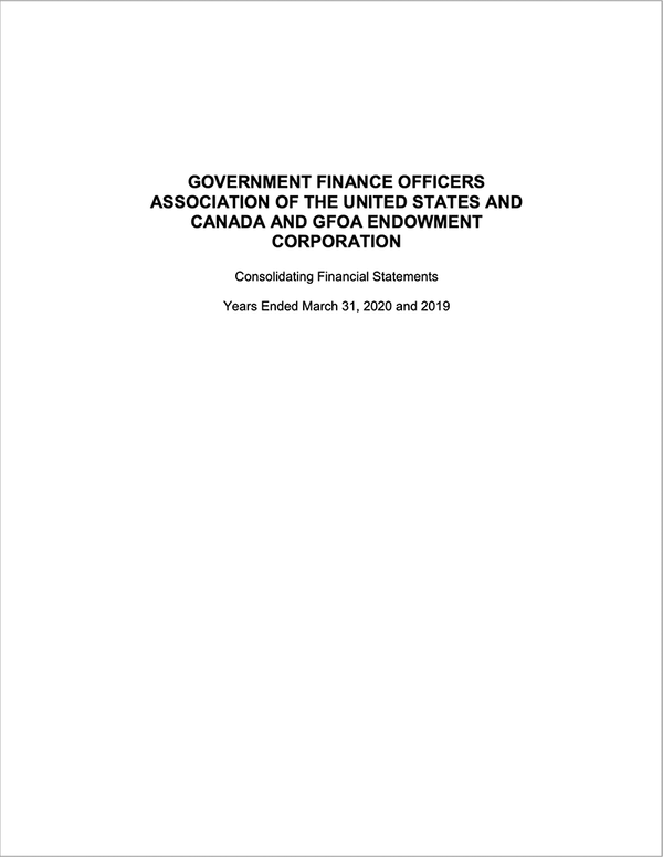 GFOA Consolidating Financial Statements Years Ended March 31, 2020 and 2019