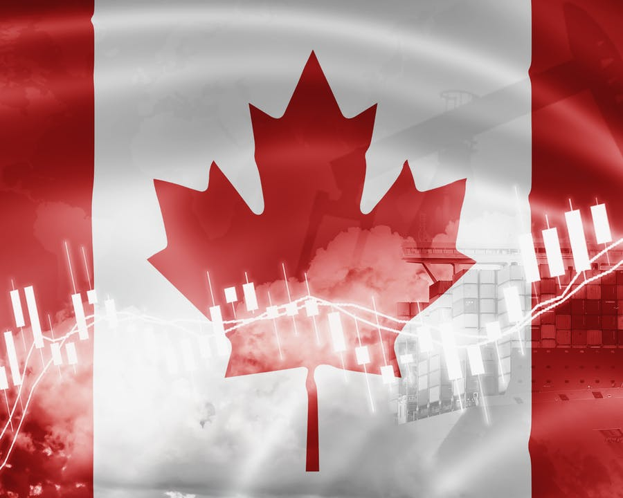 Image of Canadian Flag with chart going through flag.