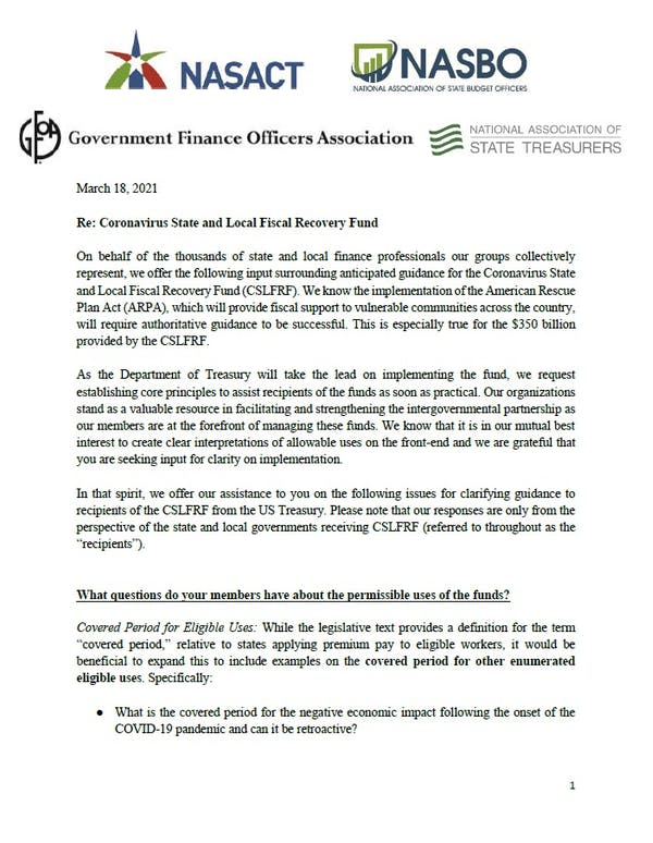 Coalition Letter to Treasury on ARPA