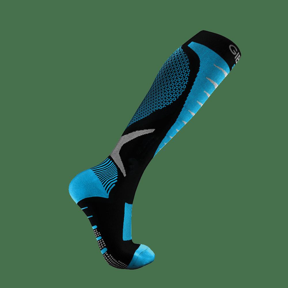 S Nouveau! Une paire de running à manches Mollet À Compression Chaussettes Bleu Nylon Spandex