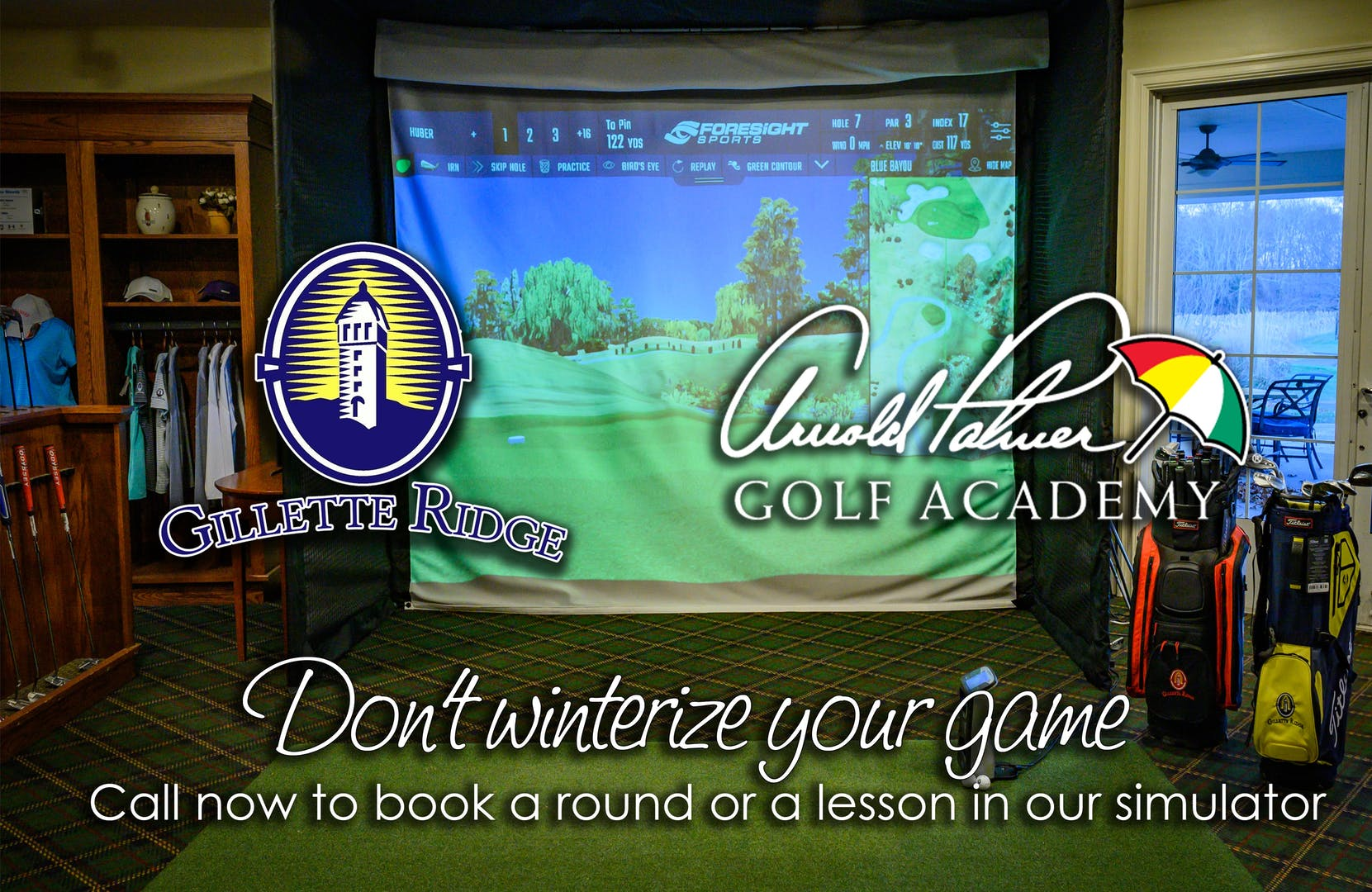Image of golf simulator with text: Don't winterize your game. Call now to book a round or a lesson in our simulator.