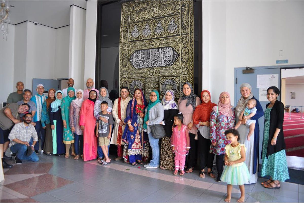 Large family at Intercultural Muslim Wedding