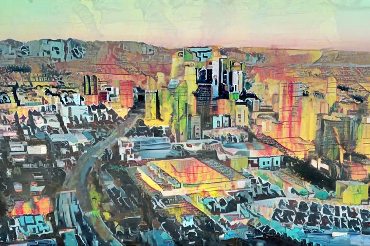 """A still from a video that looks like a watercolor painting of the Seattle skyline. Nate Mohler: Grunge City, 2021, 57 seconds. Edition of 1. Part of the """"Painted Cities"""" series. Courtesy of SuperRare."""
