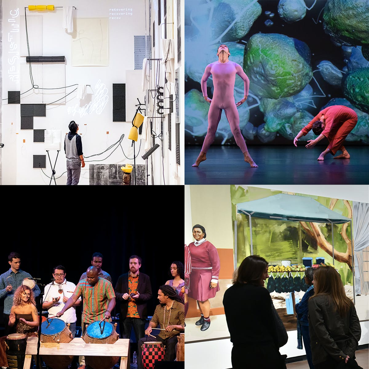 A four image grid showing different examples of the arts at UCLA.