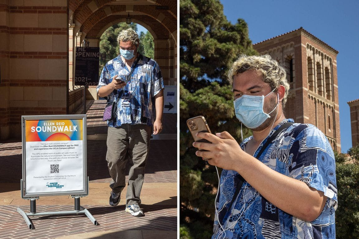 """B Thompson, co-director of the Student Committee for the Arts, walking around campus listening to """"Ellen Reid SOUNDWALK"""" on their phone."""