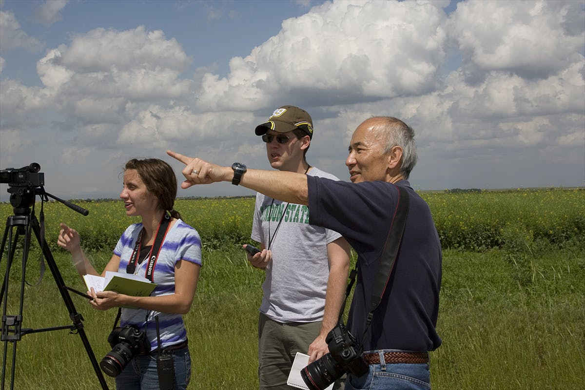 Roger Wakimoto in a field project with students in 2010. Image courtesy NOAA National Severe Storms Laboratory.