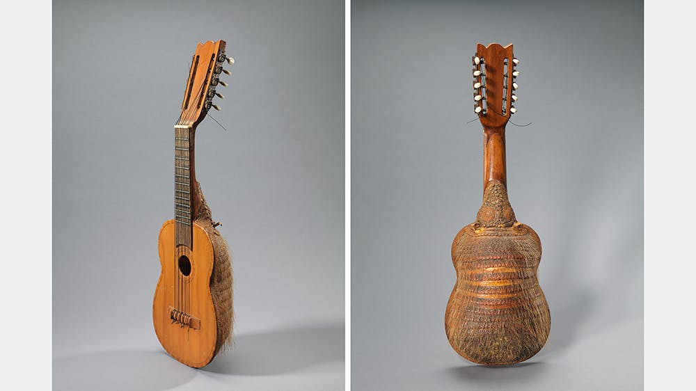 A charango made with the shell from the back of an armadillo.