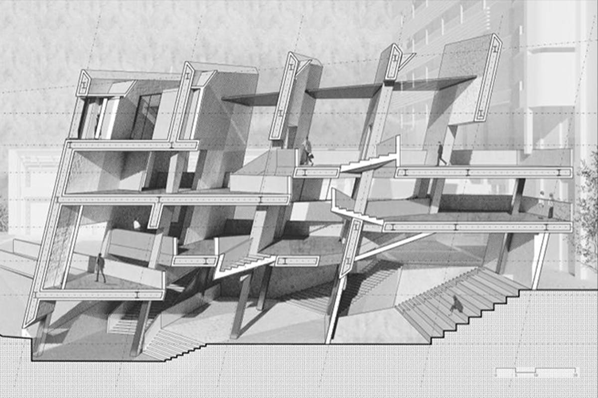 A rendering-in-progress of a proposed UCLA Arts AEDI Center, with tilted walls, created by Morgane Copp and Wei Qiu.
