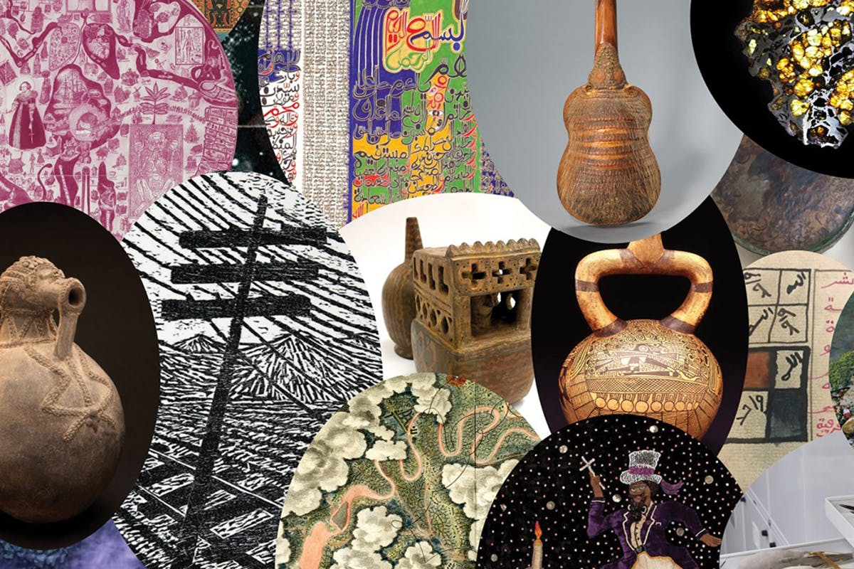 Collage of artworks including maps, ceramics, instruments, and etchings,