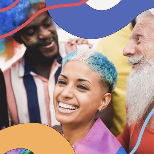 A group of LGBTIQ+ people celebrating