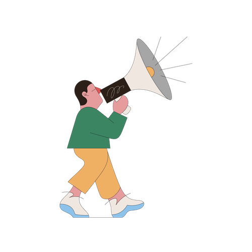 A stylised illustration of a person walking, speaking through an oversized megaphone.