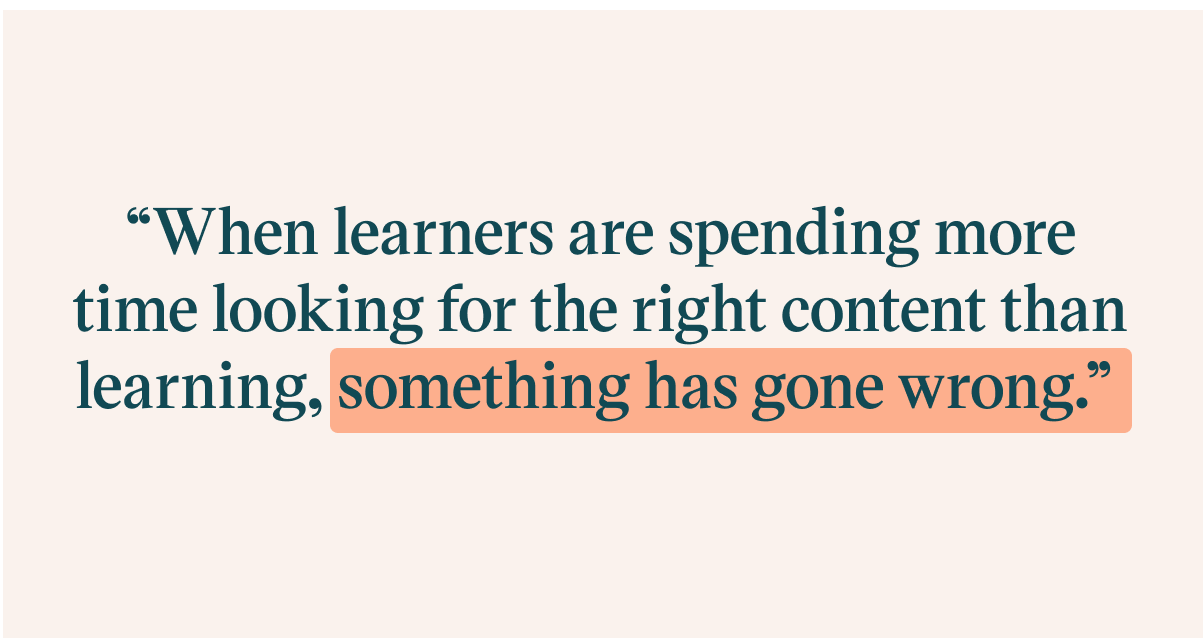 Pull quote with the text: when learners are spending more time looking for the right content than learning, something has gone wrong