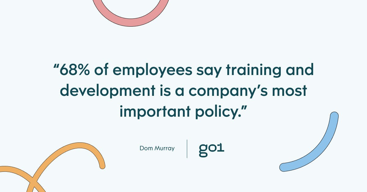 Pul quote with the text: 68% of employees say training and deveopment is a company's most important policy