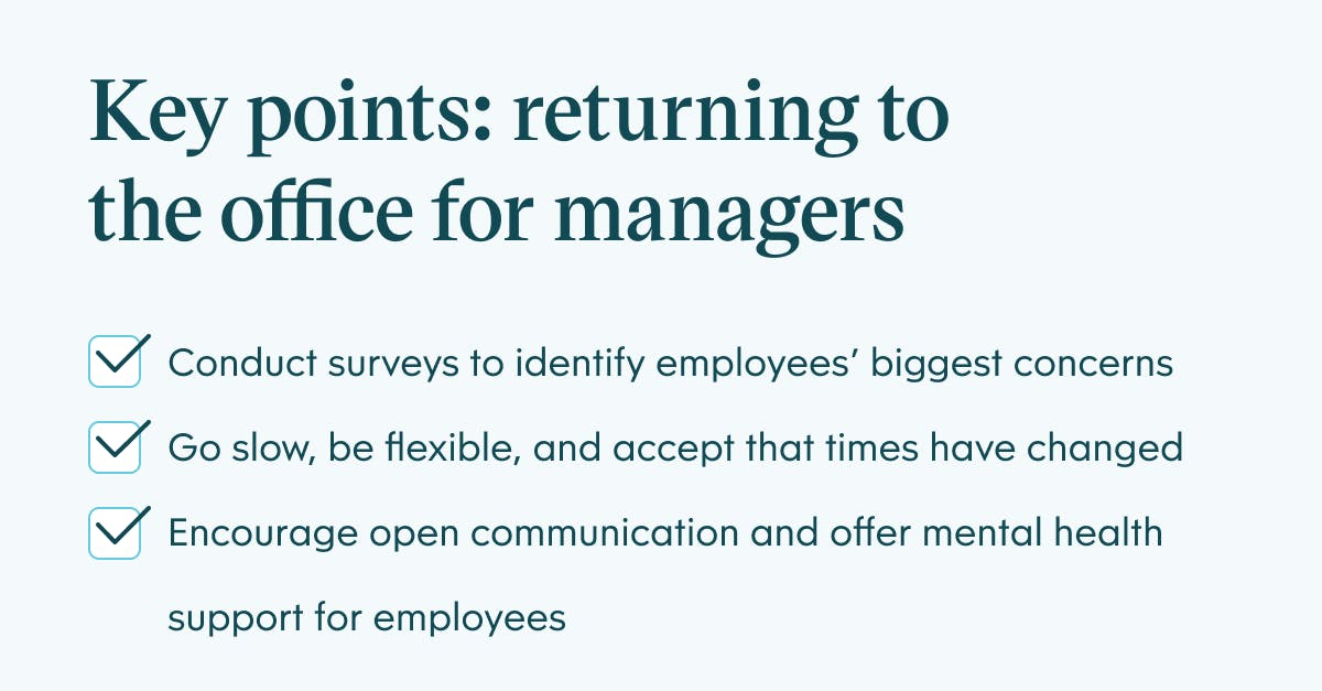 Pull quote infographic showing key points for returing to the office for managers