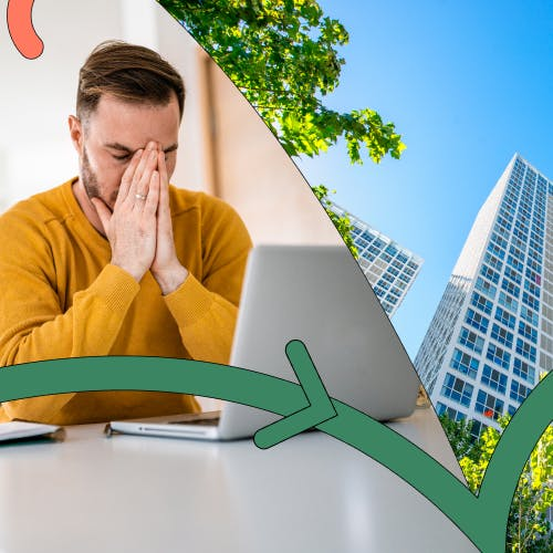 Split screen of a man working from home on a laptop and an office building, to symbolise returning to office life
