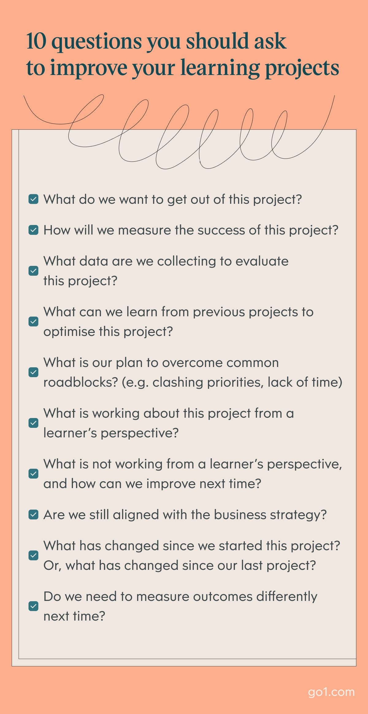 Infographic of 10 questions you should ask to improve your learning projects