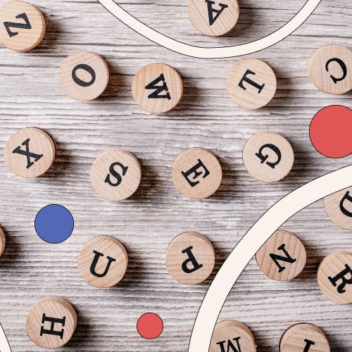 A lot of round scrabble letters