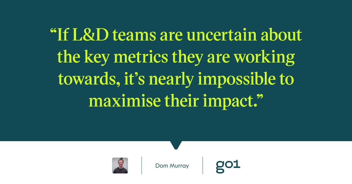 Pull quote with the text: If L&D teams are uncertain about the key metrics they are working towards, it's nearly impossible to maximise their impact