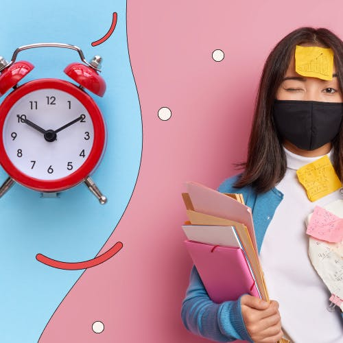 Overwhelmed woman with post-it notes on her face and body, next to an alarm clock