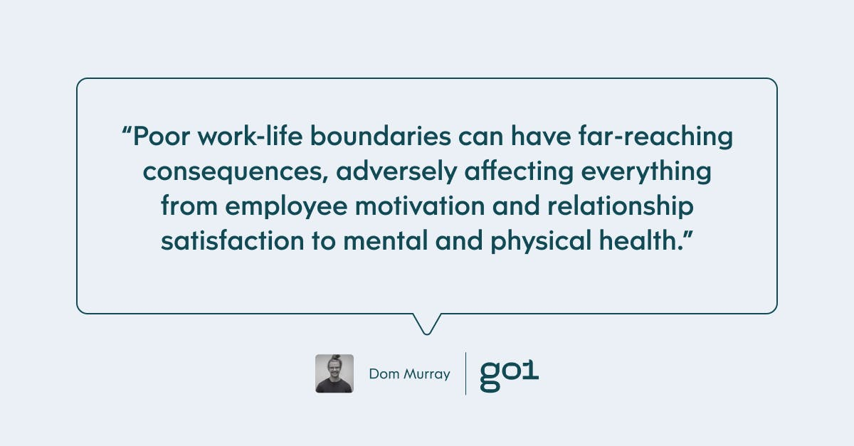 Pull quote with the text: poor work-life boundaries can have far-reaching consequences, adversely affecting everything from employee morivation and relationship satisfaction to mental and physical health